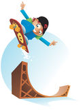 Skateboard Kid with halfpipe ramp Royalty Free Stock Image