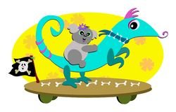 Skateboard with Lizard and Koala Bear Stock Photography