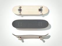 Skateboard lokalisiert auf einem weißen Hintergrund 3d übertragen Stockfotografie