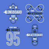 Skateboard and longboard badges Stock Photos
