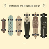 Skateboard and longboard design Stock Image