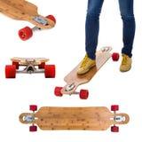 Skateboard longboard set Royalty Free Stock Photos
