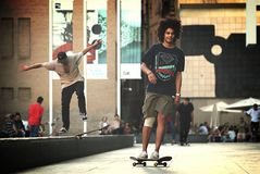 Skateboard 1. MACBA museum square in El Raval district in Barcelona is a popular spot among local skateboarders Royalty Free Stock Photo