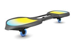Skateboard met twee wielen die op witte achtergrond wordt geïsoleerd 3D illustra Stock Afbeelding