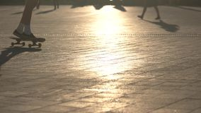 Skateboard in motion. Shadow of skater. Speed and maneuvers. Imagine the obstacle stock video footage