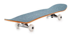 Skateboard. New skateboard isolated on white background. Deep depth of field, all elements of the board are in focus Royalty Free Stock Photo