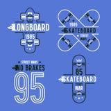 Skateboard- och longboardemblem Arkivfoton
