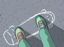Skateboard op bestrating en mensenvoeten hoogste mening die wordt geschilderd Royalty-vrije Illustratie