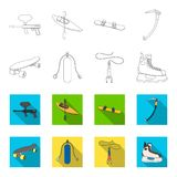 Skateboard, oxygen tank for diving, jumping, hockey skate.Extreme sport set collection icons in outline,flet style. Vector symbol stock illustration Stock Photography