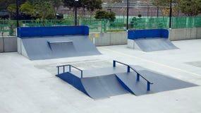 Skateboard Park. Skateboard slopes in public park Stock Image