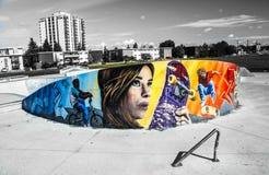 Skateboard park graffiti and graphics Stock Photos