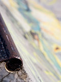 Skateboard park rail. With blurred graffiti in background royalty free stock photo