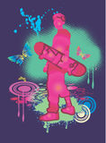 Skateboard and pink boy Royalty Free Stock Photos