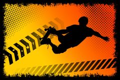 Skateboard poster. Whith orange background Royalty Free Stock Photos