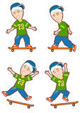 Skateboard Quad. Illustration of four different skateboard moves and expressions of same boy stock illustration