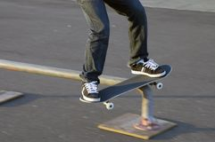 Skateboard rail slide Royalty Free Stock Photography