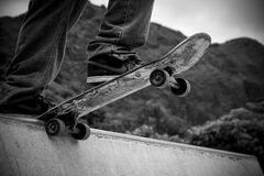 Skateboard on ramp Royalty Free Stock Images