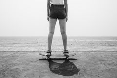 Skateboard Recreational Pursuit Summer Beach Holiday. Concept Stock Photos