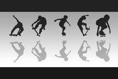 Skateboard Reflections. 5 skateboarding silhouettes and reflections against a grey gradient background Royalty Free Stock Images