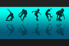 Skateboard Reflections. 5 skateboarding silhouettes and reflections against a blue gradient background Stock Photos