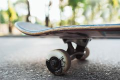 Skateboard on the road. Extreme sport challenge. And skateboarder competition, close up picture of skate Stock Image