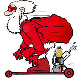 Skateboard santa. Father Christmas on a powered skateboard Royalty Free Stock Photo