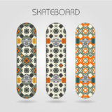 Skateboard set. Girly tracery. Set of drawings on a skateboard Royalty Free Stock Images