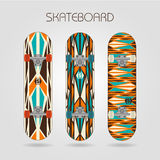 Skateboard set. Retro tracery Royalty Free Stock Images