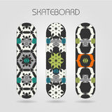 Skateboard set. Tracery floral. Set of drawings on a skateboard Royalty Free Stock Images