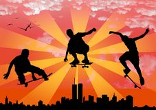 Skateboard silhouette Stock Photos