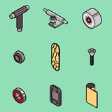 Skateboard spare parts icons Stock Photo