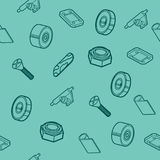 Skateboard spare parts pattern. Fingerboard and spare parts. Set of fingerboard and fingerboarding of equipment, elements of street style. Collection symbols Royalty Free Stock Images
