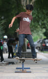 Skateboard. Sports fans were fighting skills in Solo, Central Java, Indonesia stock photo