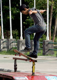 Skateboard. Sports fans were fighting skills in Solo, Central Java, Indonesia royalty free stock photo