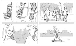 Skateboard storyboards Στοκ Εικόνα