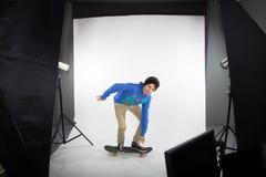 Skateboard studio photo shoot Stock Photos