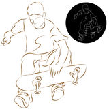 Skateboard Stunt Rider. An image of a skateboard stunt rider line drawing Royalty Free Stock Photos