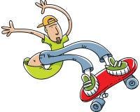 Skateboard Stunt. A young cartoon man does stunts on a skateboard Stock Photo