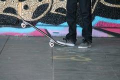 Skateboard teenager in skate park Stock Images