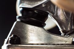 Skateboard truck close up, baseplate and bushing Stock Photography
