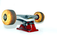 Skateboard truck and wheels. Used skateboard truck with wheels and bearings royalty free stock photo