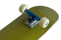 Skateboard trucks. Underside of a skateboard deck with blue metallic trucks Stock Photo