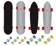 Skateboard- und longboardgewohnheitsvektor Stockfoto