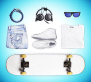 Skateboard and wear and accessories Royalty Free Stock Images