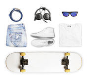 Skateboard and wear and accessories Stock Images
