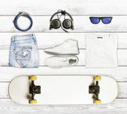 Skateboard and wear and accessories Stock Image