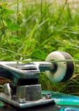 Skateboard wheel in the grass. The wheel of an overturned skateboard in the grass Royalty Free Stock Photos