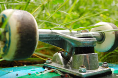 Skateboard wheels in the grass. The wheels of an overturned skateboard in the grass Stock Photos