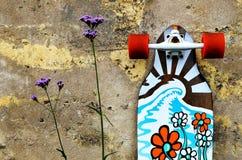 Skateboardbenägenhet mot en stenvägg arkivbilder