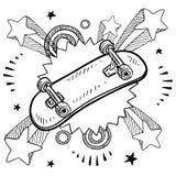 Skateboarden skissar stock illustrationer